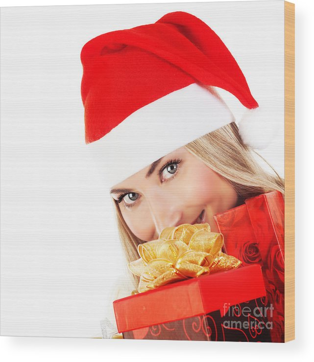 Adult Wood Print featuring the photograph Happy Santa With Presents by Anna Om