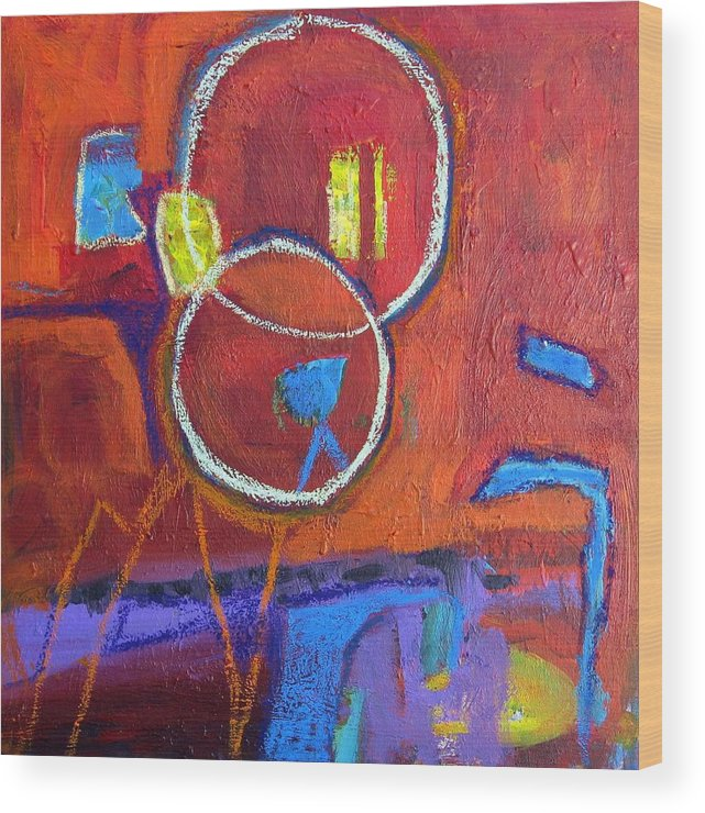 Acrylic And Pastel On Canvas Wood Print featuring the painting Spinning by Ron Klotchman