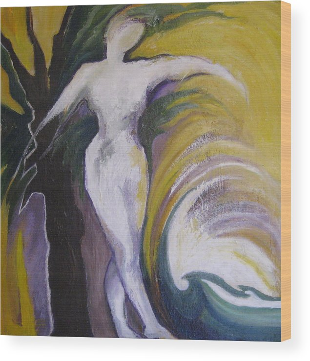 Woman Wood Print featuring the painting Waving Yellow by Jessy