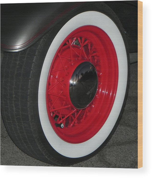 Wheels Wood Print featuring the photograph Old Red Spoke by Chuck Re