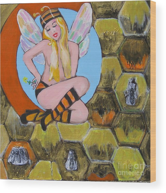 Honey Wood Print featuring the painting Sweet Honey by Diana Riukas