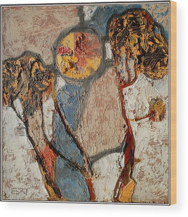 Abstract Landscape Wood Print featuring the painting Abstract Landscape by Elenko Petkov