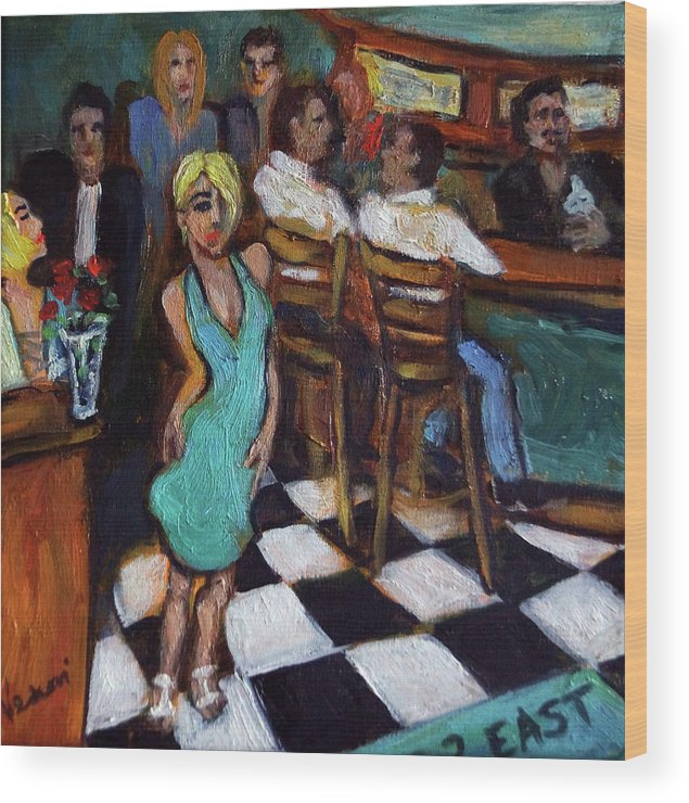 Restaurant Wood Print featuring the painting 32 East by Valerie Vescovi