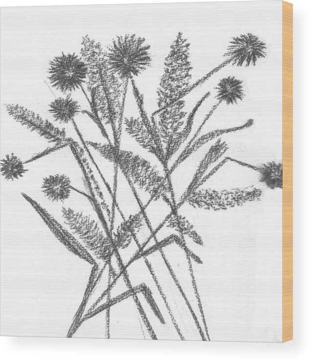Abstract Flowers Wood Print featuring the drawing Abstract Flowers 5 by Hema Rana
