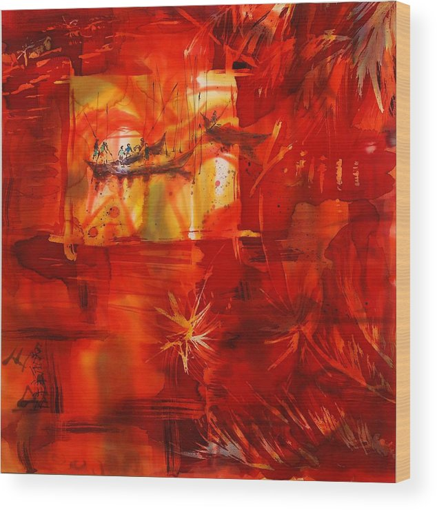 Kerala Wood Print featuring the painting Backwater Reflections by Beena Samuel