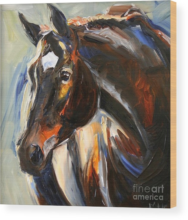 Black Horse Wood Print featuring the painting Black Horse Oil Painting by Maria Reichert