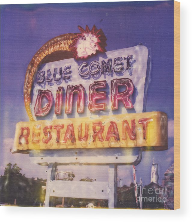 Polaroid Wood Print featuring the photograph Blue Comet Diner - Hazelton by Steven Godfrey