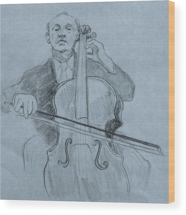 Portrait Wood Print featuring the drawing Cellist by Ruth Mabee