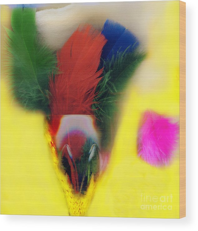 Feather Wood Print featuring the digital art Feathers In Wine Glass by Madeline Ellis