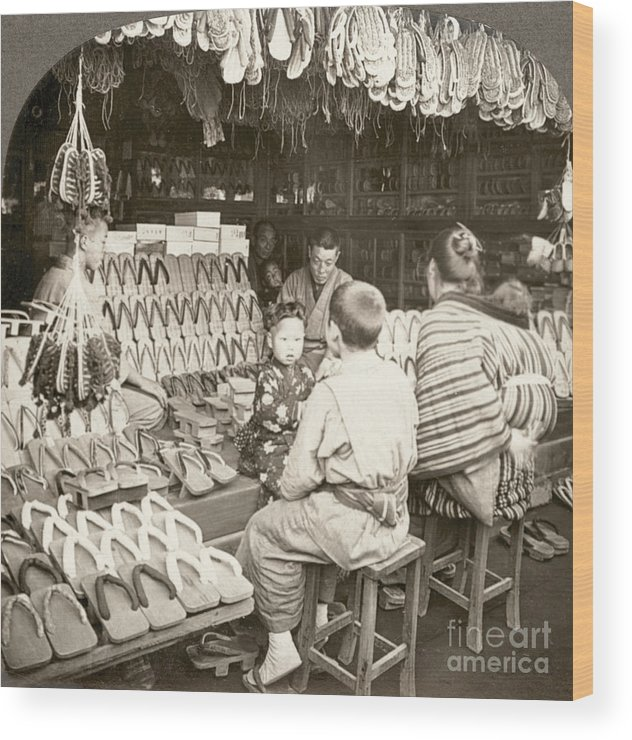 20th Century Wood Print featuring the photograph Japan: Shoe Store, C1910 by Granger