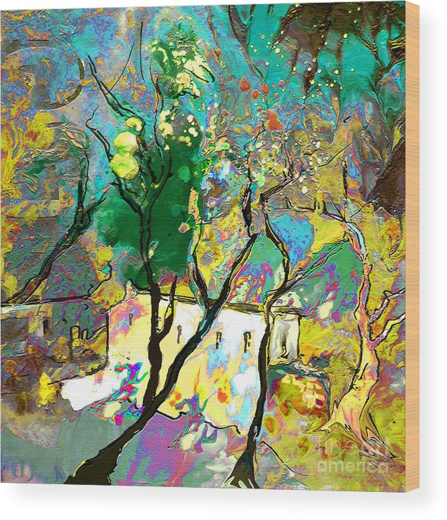Miki Wood Print featuring the painting La Provence 16 by Miki De Goodaboom