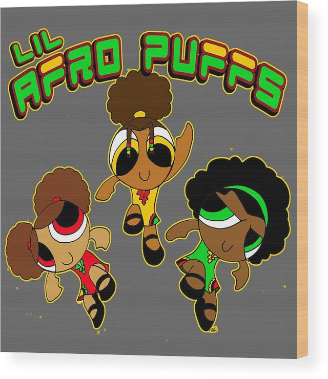 Nic The Artist Wood Print featuring the digital art Lil Afro Puffs by Nic The Artist