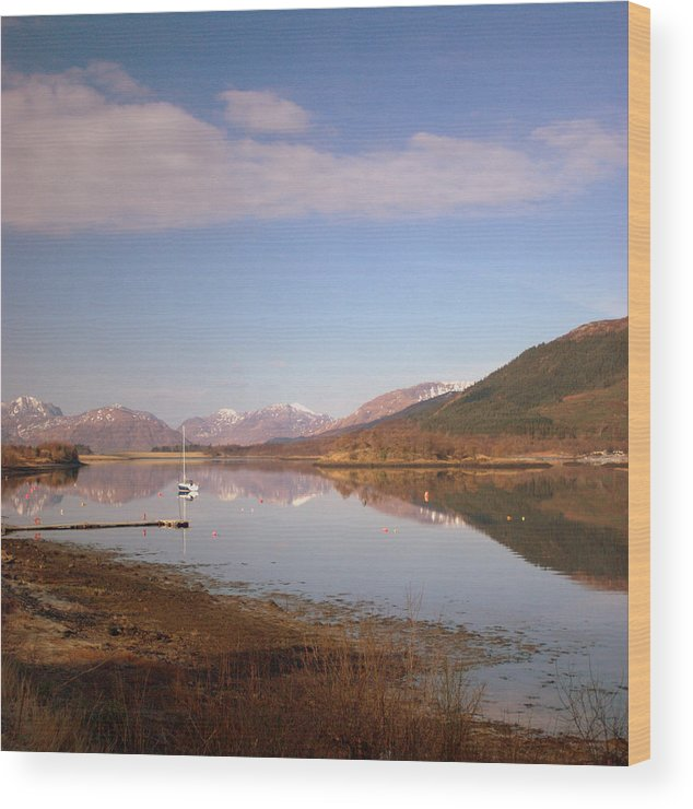 Loch Leven Scotland Morvern Hills Winter Landscape Reflections Wood Print featuring the photograph Loch Leven And Morvern Hills Winter2 by Iain MacVinish