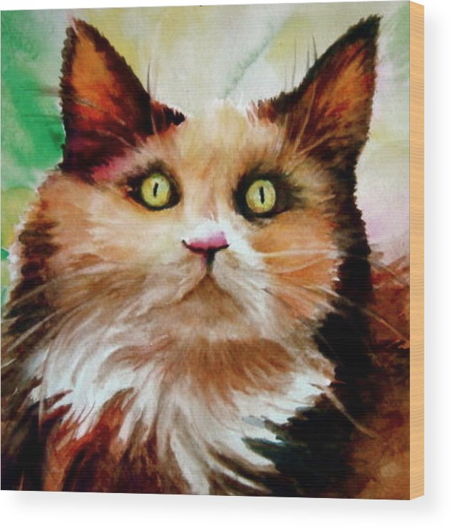 Cat Wood Print featuring the painting Putty Tat by L Lauter