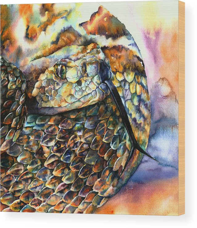 Southwest Wood Print featuring the painting Rattle Snake by Christy Freeman