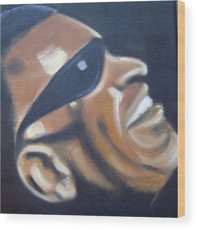 Ray Charles Wood Print featuring the painting Ray Charles by Toni Berry