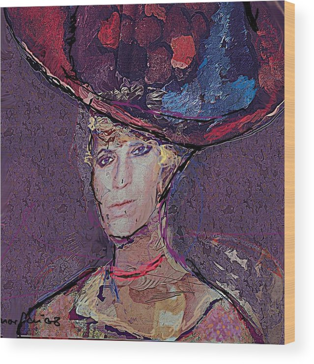 Hat Wood Print featuring the painting Red Hat by Noredin Morgan