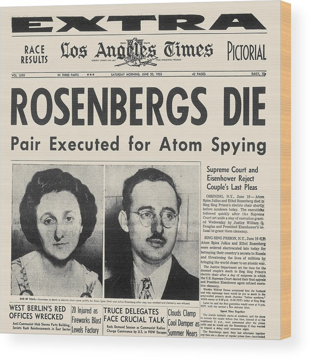 1953 Wood Print featuring the photograph Rosenberg Execution, 1953 by Granger