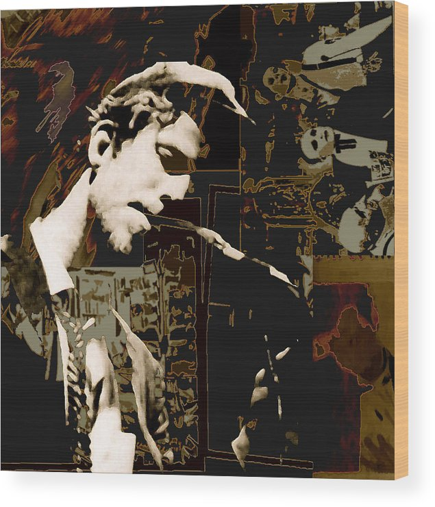 Portrats Wood Print featuring the painting Tom Waits by Jeff DOttavio