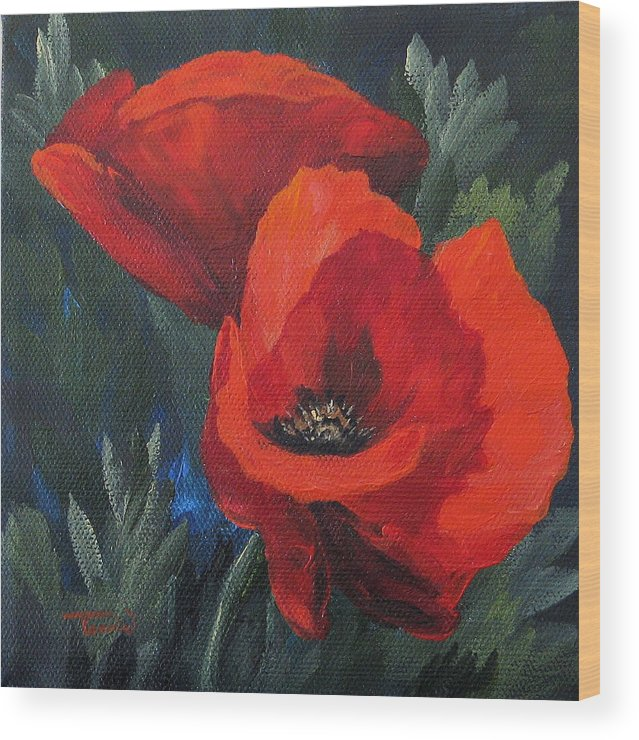 Poppies Wood Print featuring the painting Two Poppies by Torrie Smiley