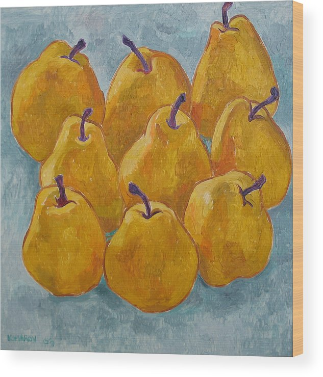 Pears Wood Print featuring the painting Yellow Pears by Vitali Komarov