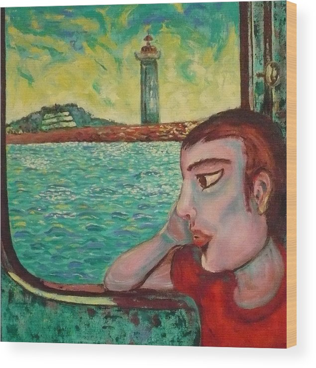 Window Wood Print featuring the painting Young Man In A Window by Ericka Herazo