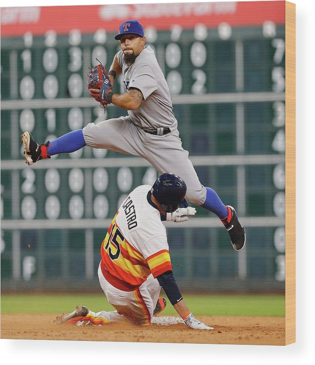 Ninth Inning Wood Print featuring the photograph Rougned Odor And Jason Castro by Bob Levey