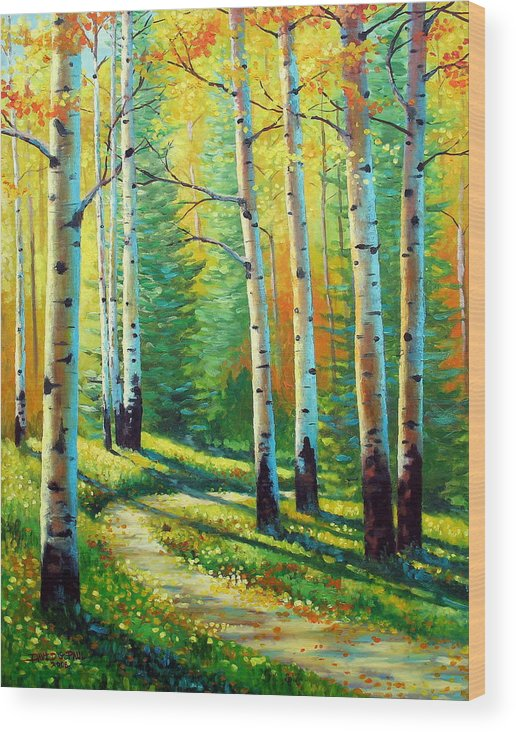 Landscape Wood Print featuring the painting Colors Of The Season by David G Paul