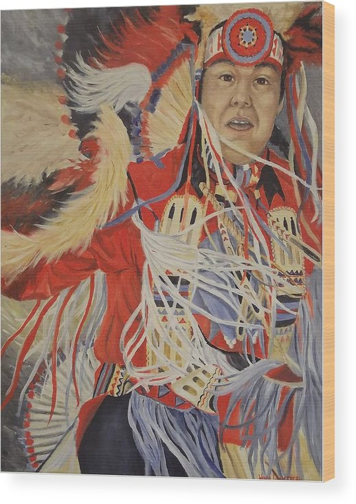 Indian Wood Print featuring the painting At The Powwow by Wanda Dansereau