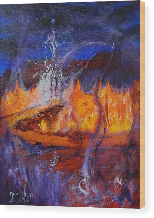 Ennis Wood Print featuring the painting Gathering At Samhain's Bluff by Christophe Ennis