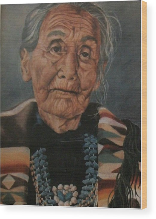 Portrait Wood Print featuring the painting Monument Valley Lady by Wanda Dansereau