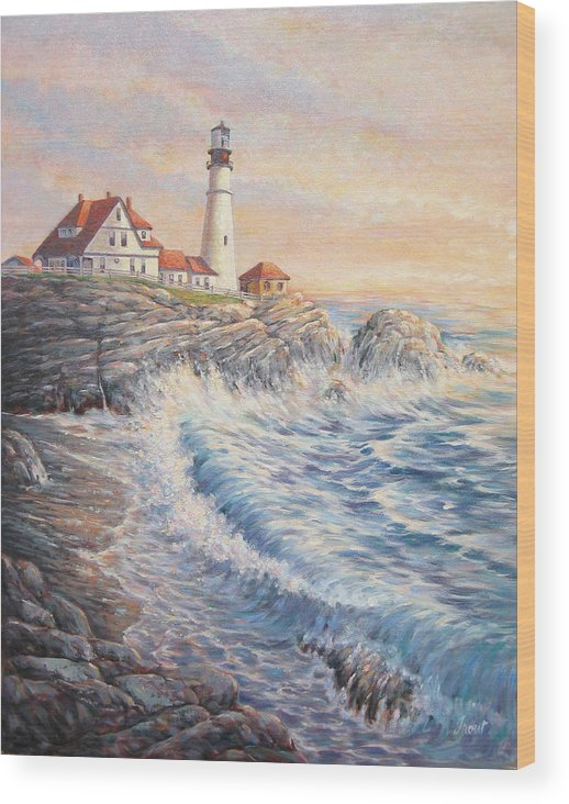 Lighthouse Wood Print featuring the painting Sunrise Light by Don Trout