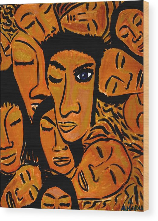 Faces Wood Print featuring the painting You Know It's Not Polite To Stare by Albert Almondia