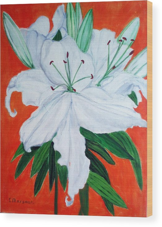 Flowers Wood Print featuring the painting Lily On Red by Lia Marsman