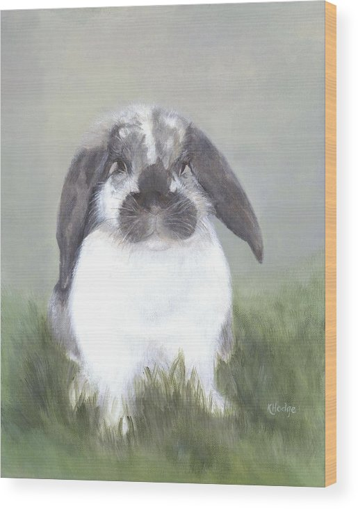 Bunny Wood Print featuring the painting Abby by Kimberly Hodge