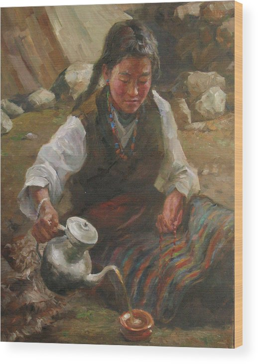 Tibet Wood Print featuring the painting Afternoon Tea by Kelvin Lei