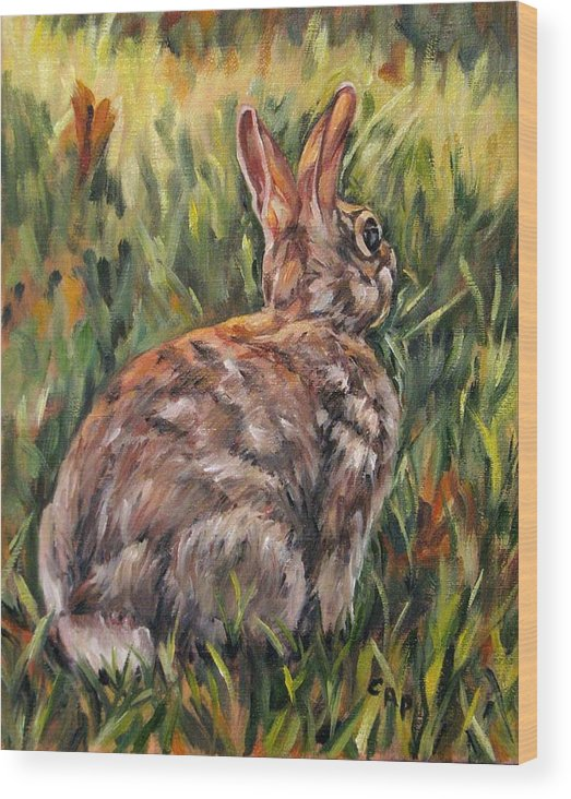 Rabbit Wood Print featuring the painting All Ears by Cheryl Pass