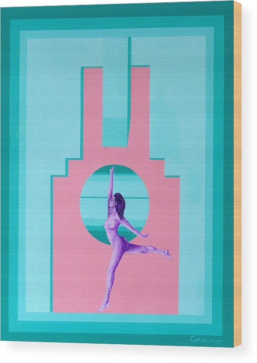Art Deco Wood Print featuring the painting Art Deco Gal by James Cordasco