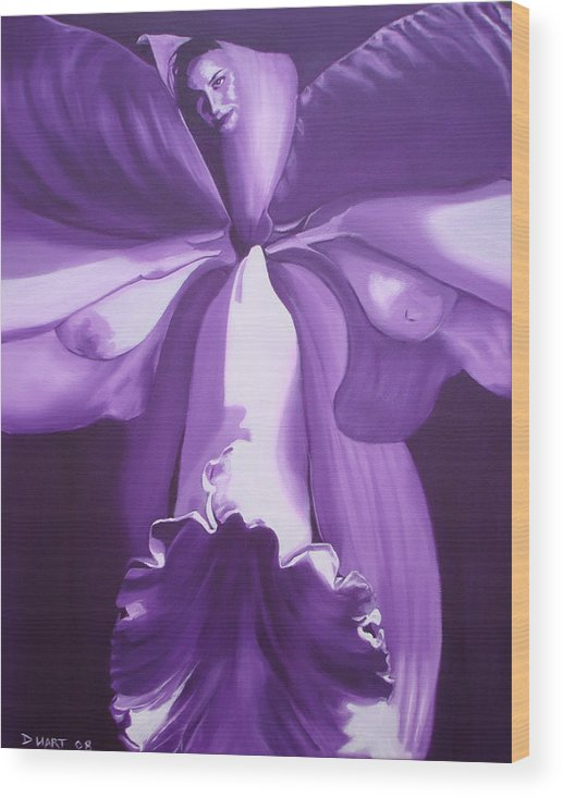 Erotic Wood Print featuring the painting Blossom by Davinia Hart