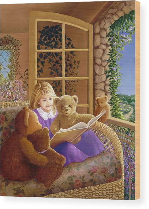 Teddy Bears Wood Print featuring the painting Book Club by Susan Rinehart