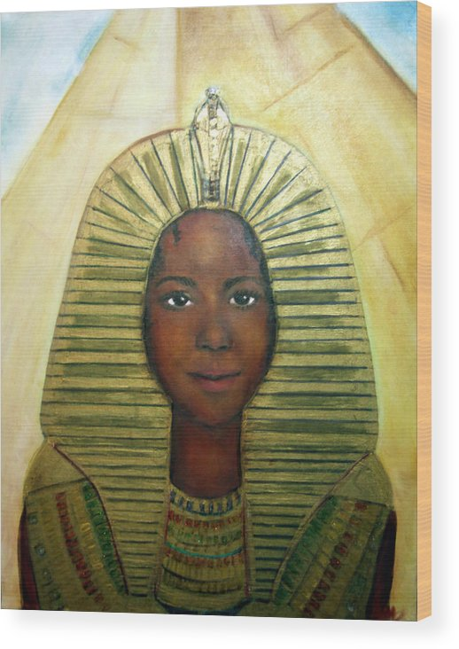 Egyptian Wood Print featuring the painting Boy King by Michela Akers