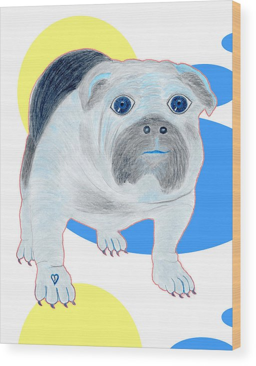 Dogs Wood Print featuring the painting Charlie The Bulldog by Tess M J Iroldi