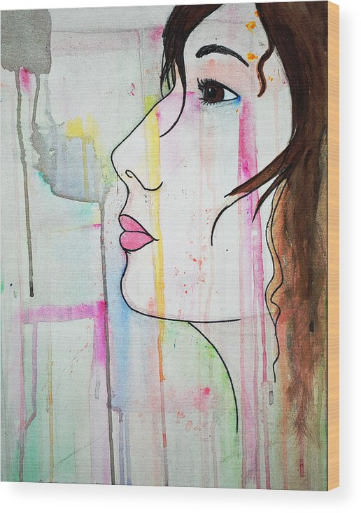 Girl Wood Print featuring the painting Girl10 by Josean Rivera
