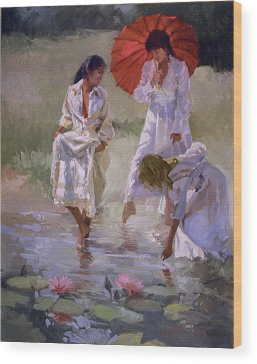 Figurative Wood Print featuring the painting Ladies And Lilies by Betty Jean Billups