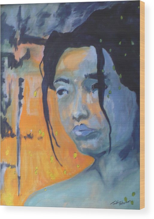Woman Wood Print featuring the painting My Soul Wanders A Far Away Land by Todd Peterson