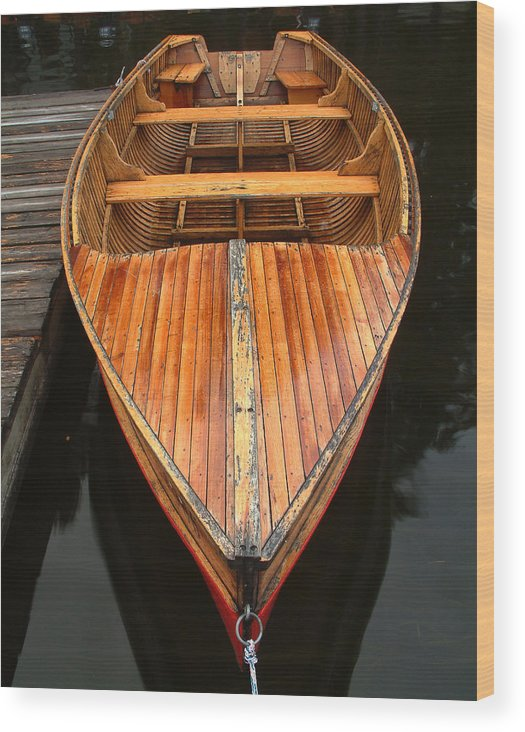 Cedar Strip Boat Wood Print featuring the photograph Nipissing Boat by Linda McRae