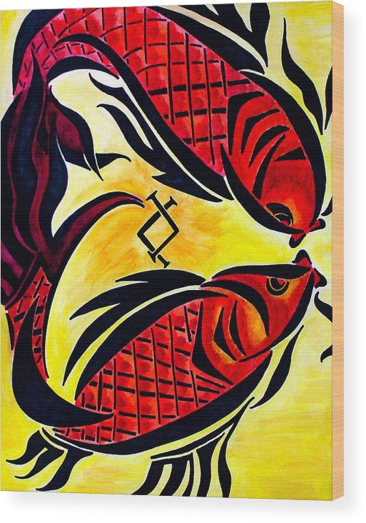 Fish Wood Print featuring the painting Pescardo by Meilena Hauslendale