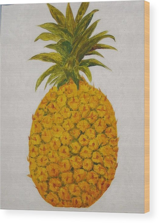 Pineapple Wood Print featuring the painting Pineapple Princess by Patti Bean
