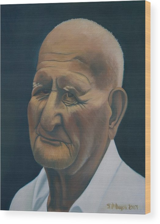 Portrait Wood Print featuring the painting Portrait Of Old Man In St. Louis by Stephen Degan