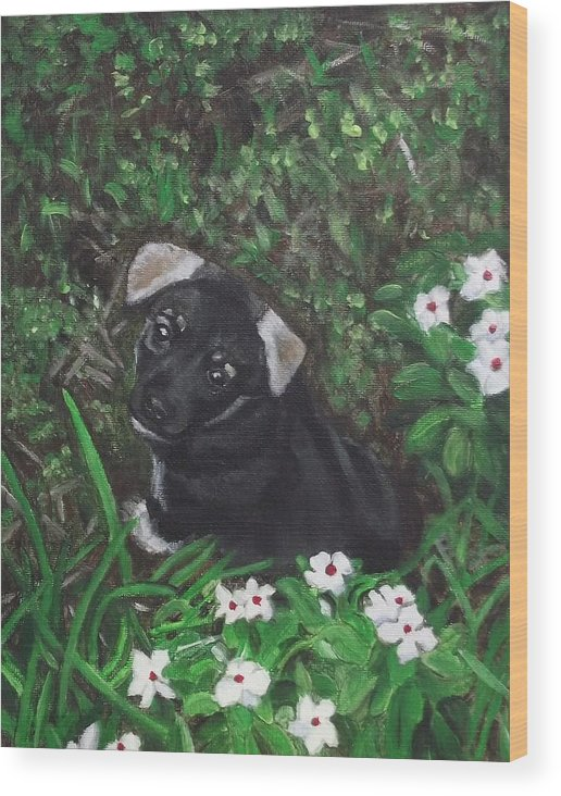 Acrylic Wood Print featuring the painting Puppy Love by Kim Selig